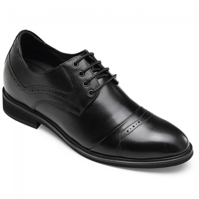 CHAMARIPA dress elevator shoes for men black height increasing derby shoes 7CM / 2.76 Inches
