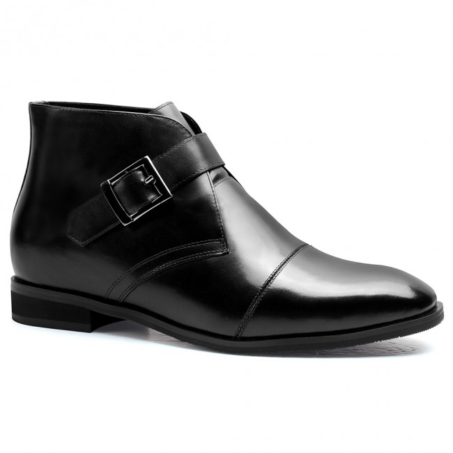 Height Increasing Shoes High Heel Boots for Men Taller Shoes Black 7 CM / 2.76 Inches