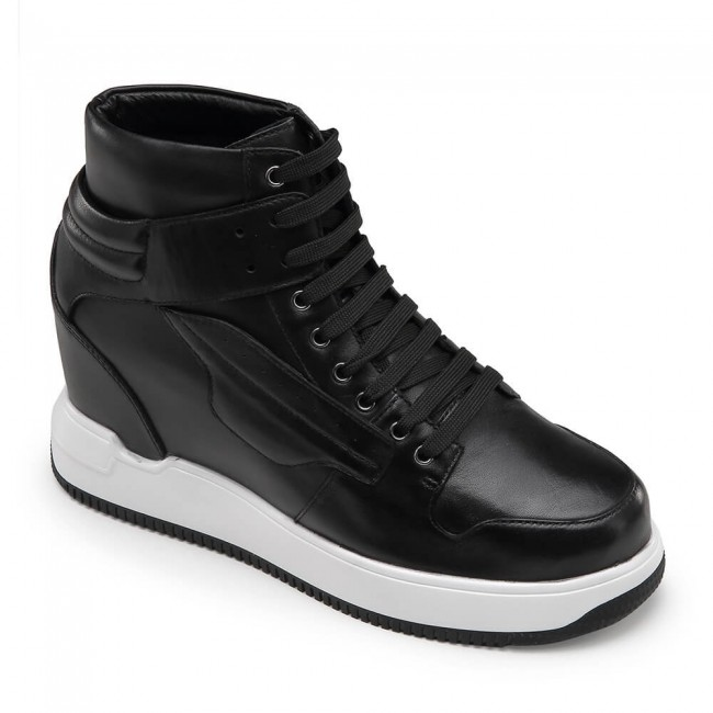 CHAMARIPA elevator shoes for men high top leather shoes black height increase sneaker 10 CM / 3.94 Inches