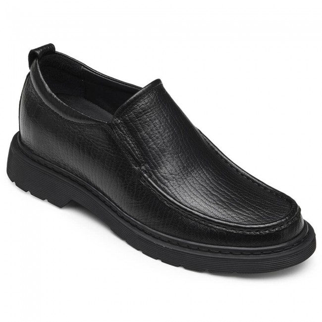 CHAMARIPA men's elevator loafer shoes taller loafers black leather shoes 7CM /2.76 Inches