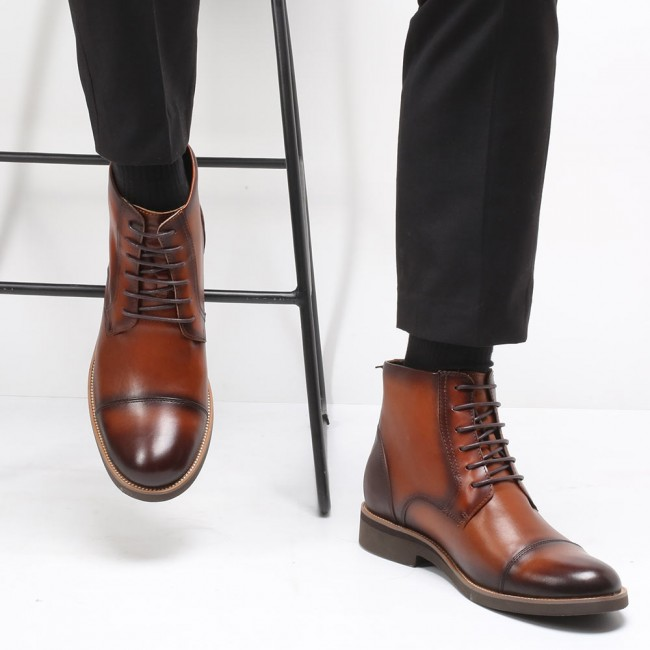 Chamaripa Height Increasing Boots Brown Leather Elevator Shoes Taller Shoes for Men 7CM / 2.76 Inches