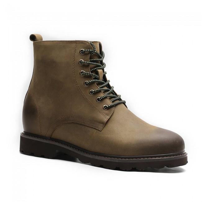 Chamaripa tall men boots height increasing shoes for men khaki hidden high heel boots 7 CM / 2.76 Inches