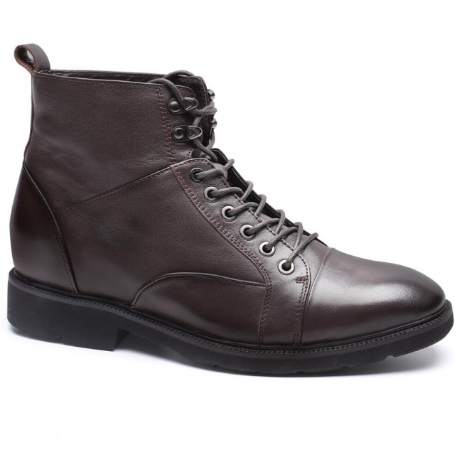 Chamaripa height increase boots brown elevator shoes for men hidden heel boots 7 CM / 2.76 Inches