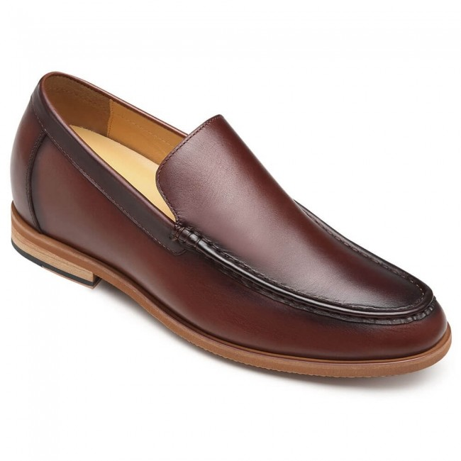 CHAMARIPA men's height increasing elevator loafers burgundy leather slip on loafers taller 7CM / 2.76 Inches