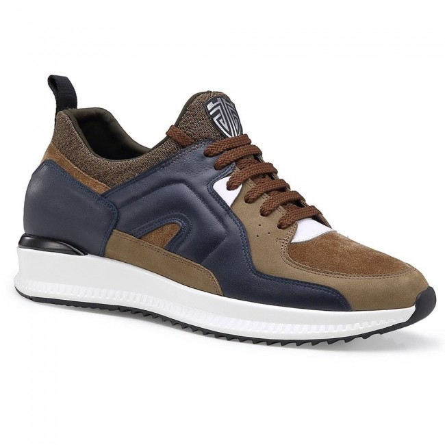 CHAMARIPA men's casual elevator sneakers khaki/navy leather tall men shoes 7CM / 2.76 Inches