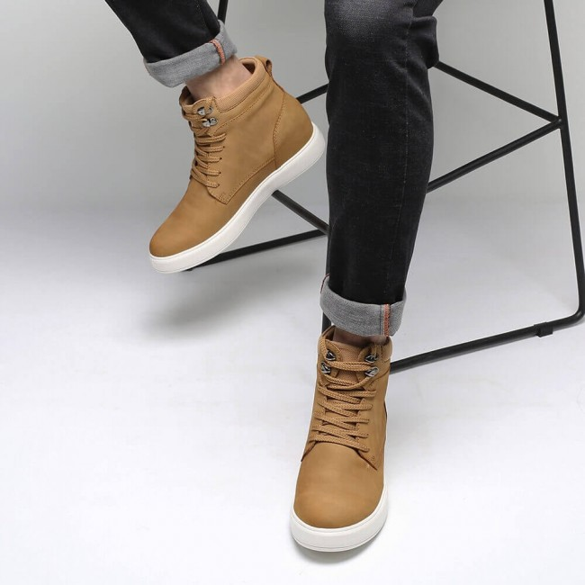CHAMARIPA elevator high shoes for men hidden heel casual shoes men brown mesh and leather 7CM / 2.76 Inches