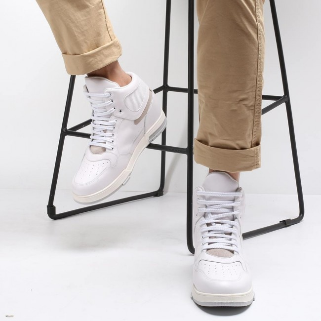 CHAMARIPA elevator sneaker for men white leather high top height increasing shoes 8CM / 3.15 Inches