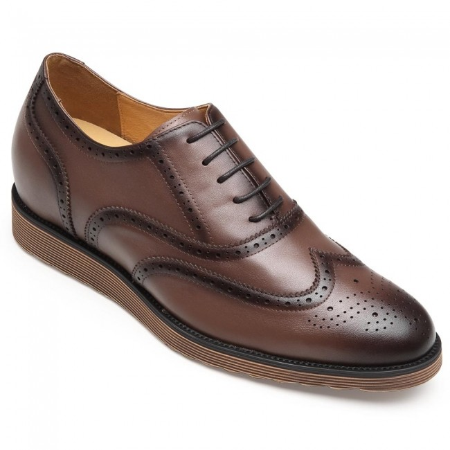 CHAMARIPA dress elevator shoes brown leather Brogue shoes tall men shoes 7CM / 2.76 Inches