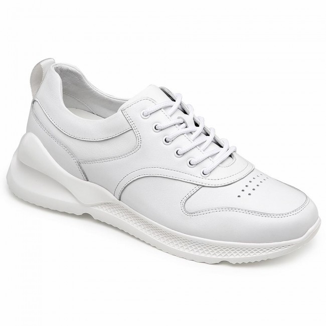 CHAMARIPA elevator sneakers for men hidden heel sneaker shoes white leather casual shoes 7CM / 2.76 Inches