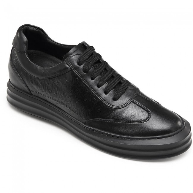 CHAMARIPA casual elevator shoes for businessmen black leather taller shoes 7CM / 2.76 Inches