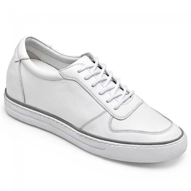 CHAMARIPA casual high heel shoes for men elevator shoes white leather casual shoes 7CM / 2.76 Inches