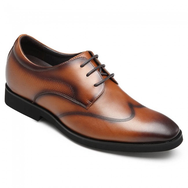 CHAMARIPA tall men derby shoes with high heel brown calfskin leather dress shoes 7CM / 2.76 Inches