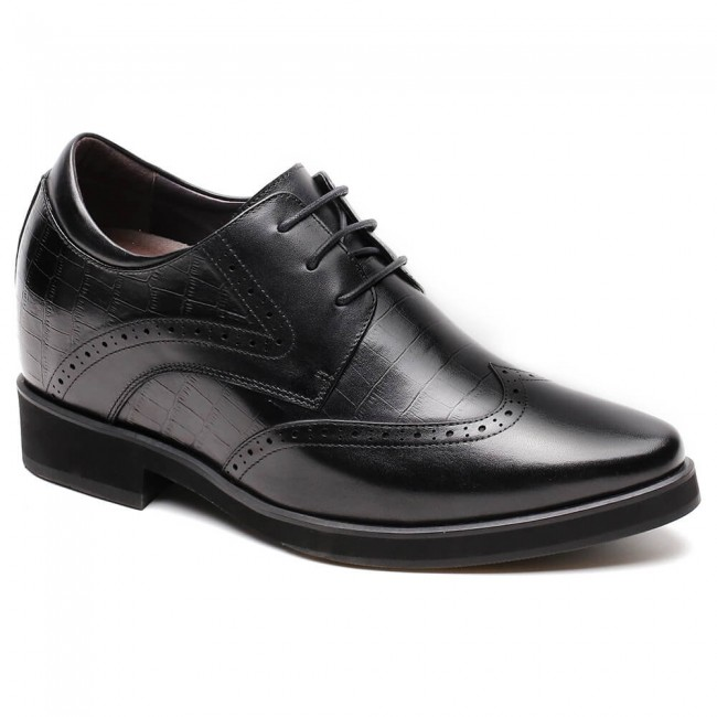 CHAMARIPA dress elevator shoes for men wingtip black leather dress shoes 10CM / 3.94 Inches