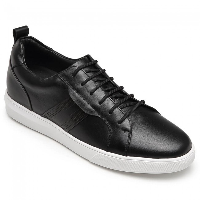 CHAMARIPA height increase sneakers black leather tall men shoes 6CM / 2.36 Inches