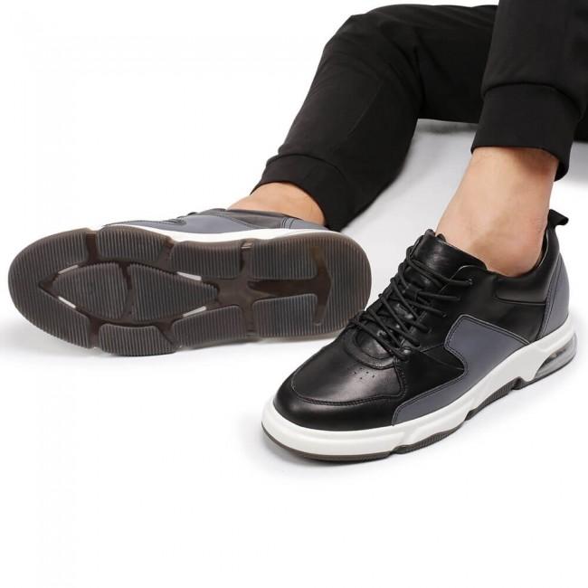 CHAMARIPA men's elevator sneakers black leather sneakers with hidden heels 6CM / 2.36 Inches
