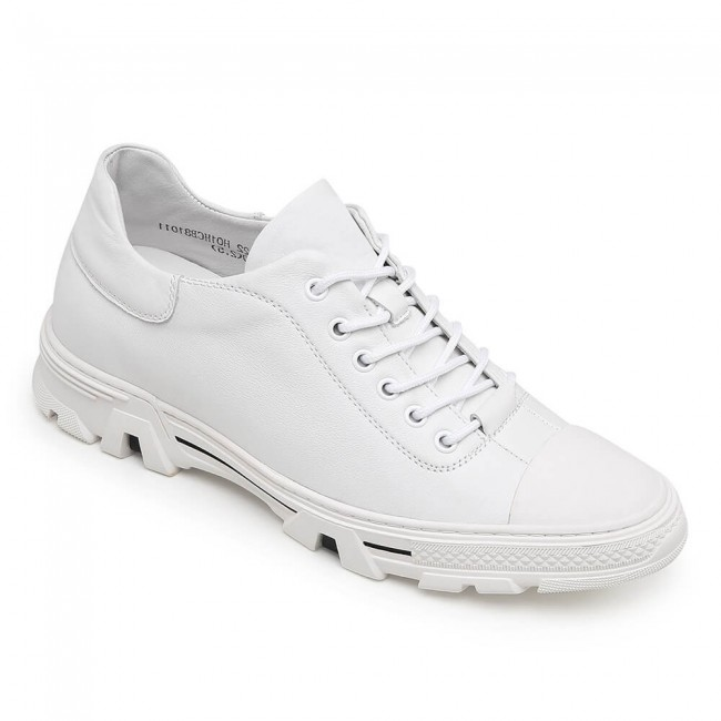 CHAMARIPA leather elevated shoe for men white elevator casual shoes men 6CM /2.36 Inches