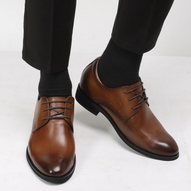 CHAMARIPA dress height increasing elevator shoes for men brown leather taller shoes 7CM / 2.76 Inches