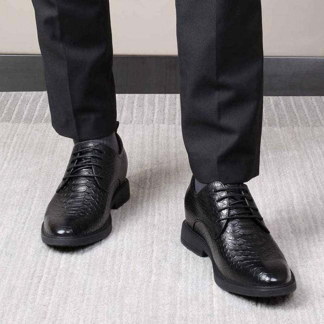 CHAMARIPA men's dress elevator shoes black leather shoes for short men get 7CM / 2.76 Inches taller