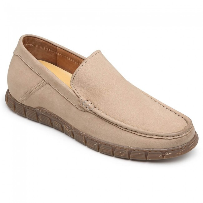 CHAMARIPA slip on height increasing shoes camel casual elevator shoes for men 5CM / 1.95 Inches