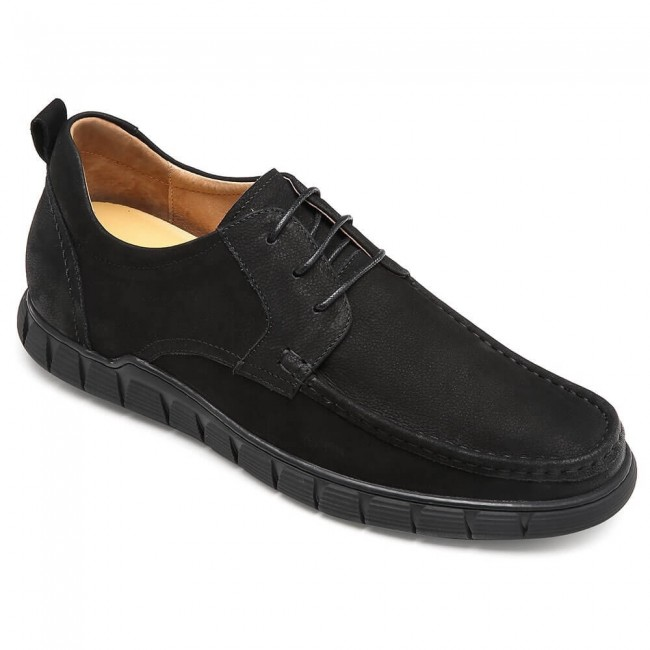 CHAMARIPA men's height increasing shoes daily black leather taller shoes 6CM / 2.36 Inches