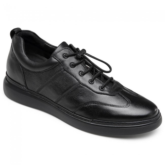CHAMARIPA Men's Invisible Height Increasing Elevator Shoes Black Leather Casual Trainer Sneakers 6CM / 2.36 Inches