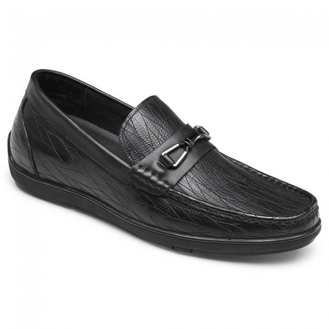 CHAMARIPA heightincreasingloafersformencasual leather elevatordriver shoes black 6CM / 2.36 Inches