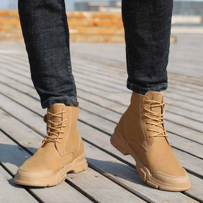 CHAMARIPA elevator boots for men lace-up hidden heel boots brown nubuck leather casual boots 7CM/2.76 Inches