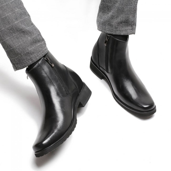 CHAMARIPA elevator boots for men black leather with side zipper boots get taller 8CM / 3.15 Inches