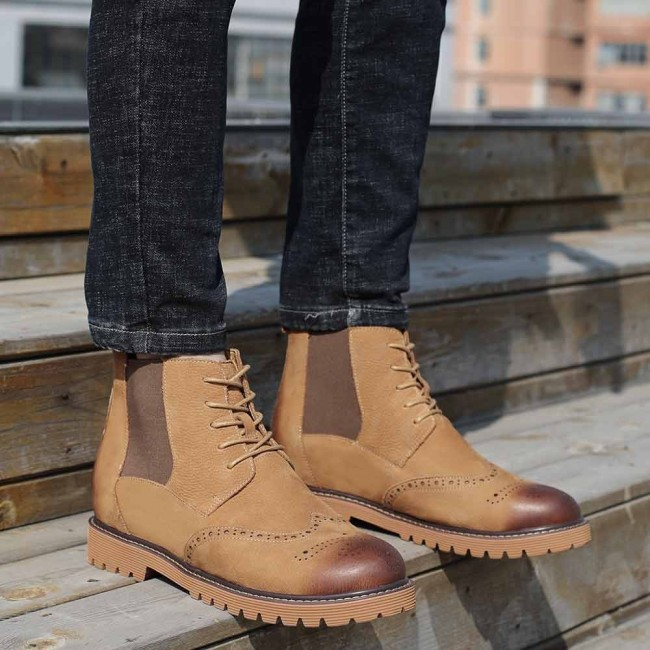 CHAMARIPA men's height increasing elevator boots brown leather brogues boots make you 8CM/3.15 Inches taller
