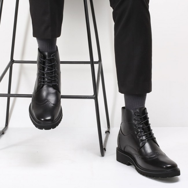 CHAMARIPA men's dress elevator boots black leather wingtip boots for men 8CM / 3.15 Inches