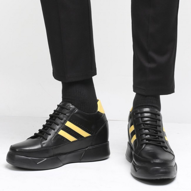CHAMARIPA casual height increasing shoes for men black leather shoes that make you taller 10CM / 3.94 Inch