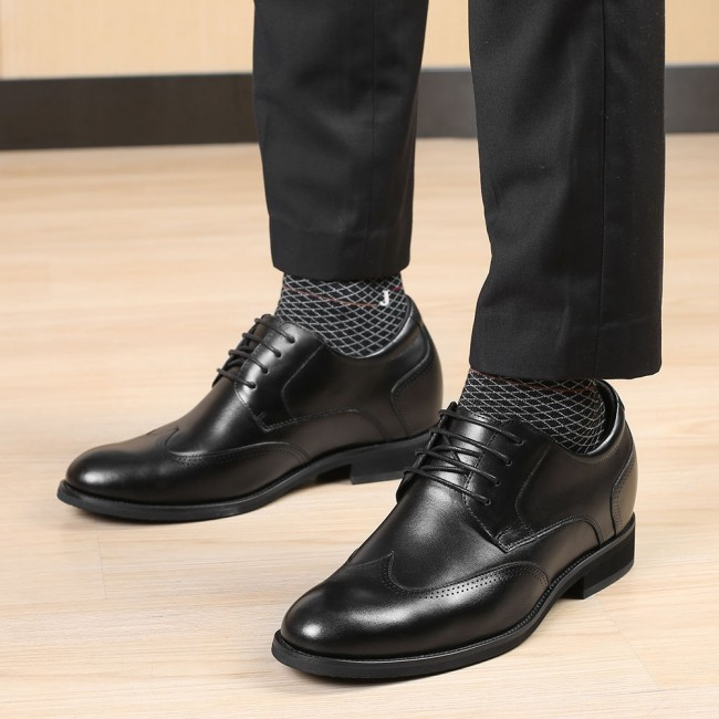 CHAMARIPA men's dress elevator shoes formal tall men shoes black leather hidden heel shoes for men 8CM / 3.15 Inches