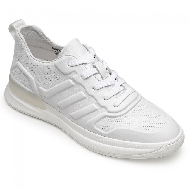 CHAMARIPA casual elevator sneakers height increasing sneakers men white leather sneakers 6CM / 2.36 Inches