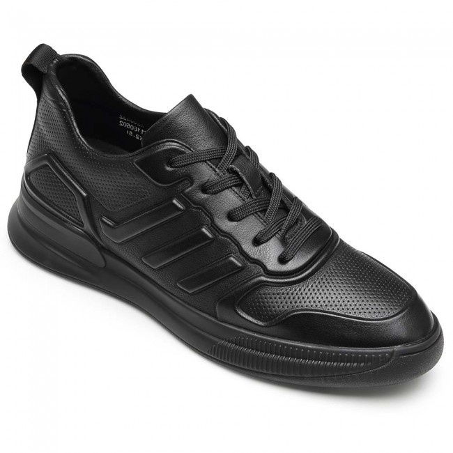CHAMARIPA casual elevator sneakers height increasing sneakers men black leather sneakers 6CM / 2.36 Inches