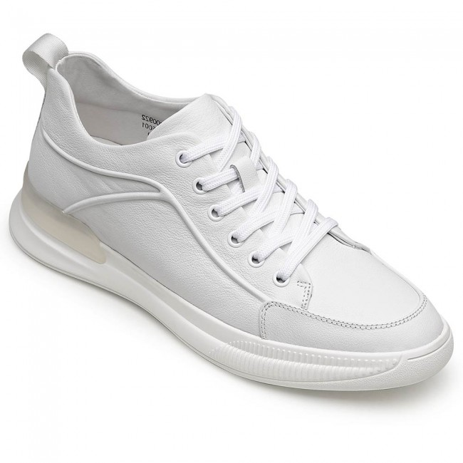 CHAMARIPA men's height shoes elevator shoes white leather sneakers to get taller 6CM / 2.36 Inches