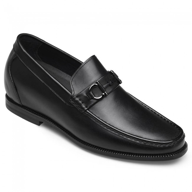 CHAMARIPA men's elevator loafers black leather slip-on Hazel loafer get taller 6CM / 2.36 Inches