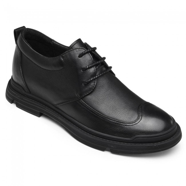CHAMARIPA casual elevator shoes for  business men height increasing shoes black leather shoes 6CM / 2.36 Inches