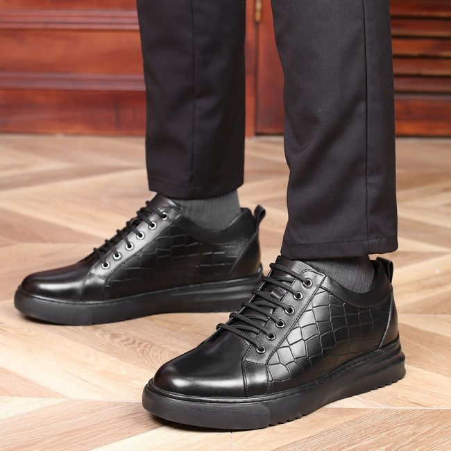 CHAMARIPA casual elevator shoes for men black leather casual shoes that make you taller 7CM / 2.76 Inches