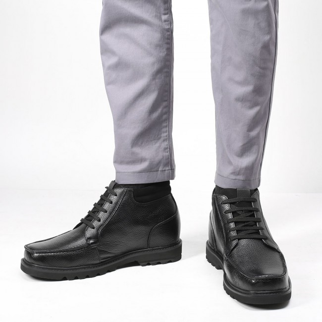 CHAMARIPA height increasing boots for men tall men boots black leather working boots 9 CM/ 3.54 Inches