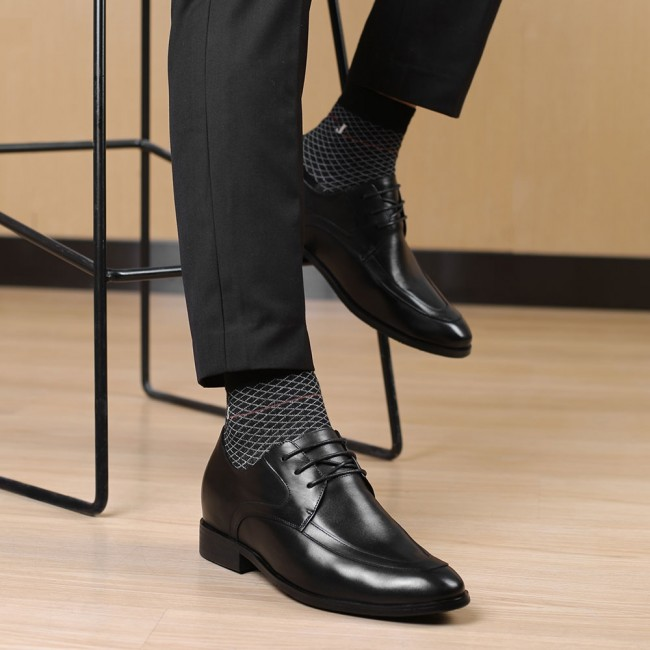 CHAMARIPA dress height increasing elevator shoes for men black leather dress shoes get 7CM / 2.76 Inches taller