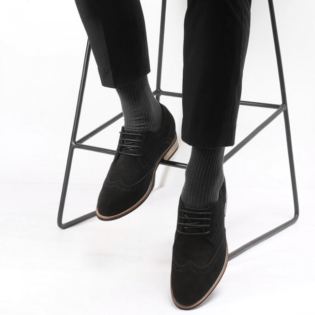 CHAMARIPA elevator shoes high heel men dress shoes height increasing black suede wingtip brogues 8CM /3.15 Inches