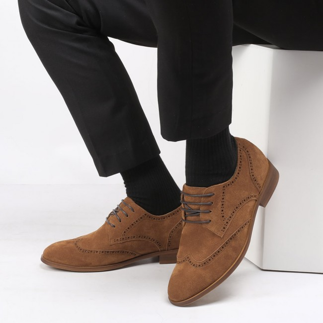 CHAMARIPA tall men shoes height increasing elevator shoes brown suede wing tip brogues 8CM /3.15 Inches