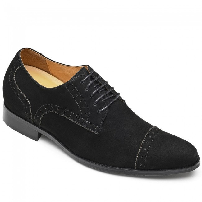 CHAMARIPA nubuck height increasing shoes for men dress elevator shoes black 8CM / 3.15 Inches
