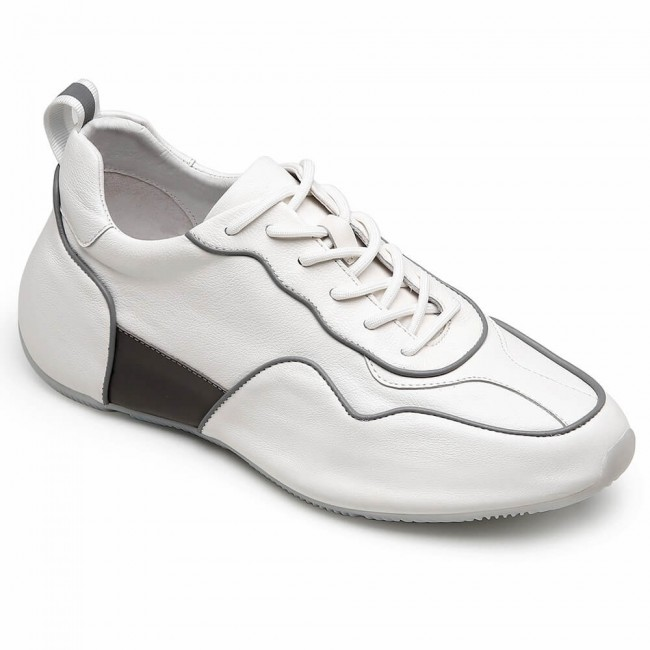 CHAMARIPA height increasing elevator sneakers white cow leather shoes that make you taller 5CM / 1.95 Inches