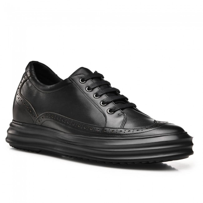 CHAMARIPA business men elevator shoes leather casual tall men shoes black bullock 6CM / 2.36 Inches