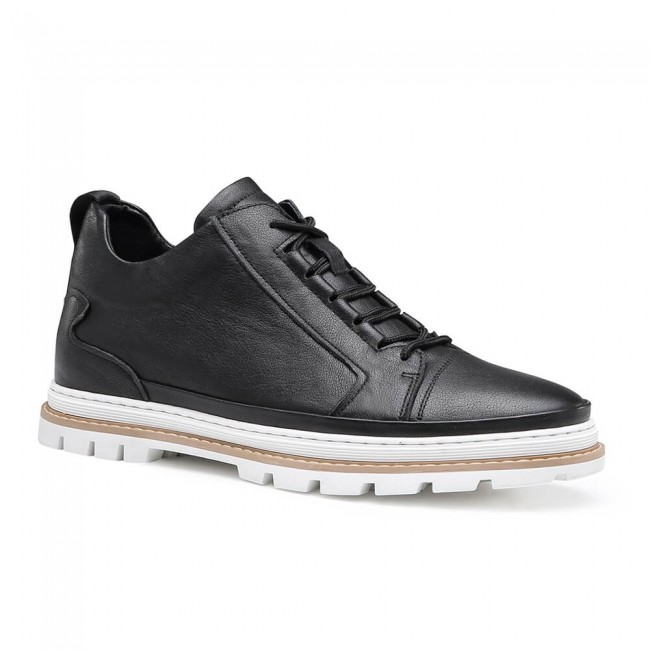 Chamaripa Height Increasing Shoes Tall Men Shoes Black Leather Casual Elevator Shoes 5.5CM / 2.17Inches