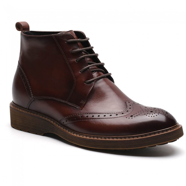 Chamaripa elevator boots tall men shoes invisible height increase boots for men brown brogue boots 7 CM / 2.76 Inches