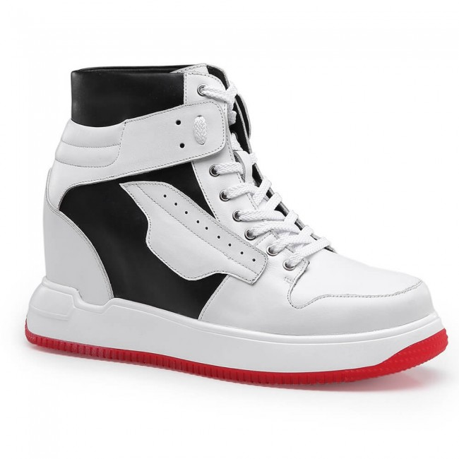 Chamaripa Height Increasing Sneakers Men's Sneakers that Add Height White High Top Lace-up Sports Shoes 10 CM / 3.94 Inches