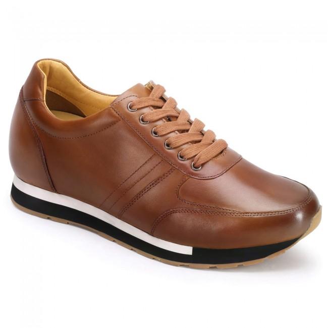 CHAMARIPA men's elevate sneakers hidden heel trainers brown calf leather 7CM / 2.76Inches