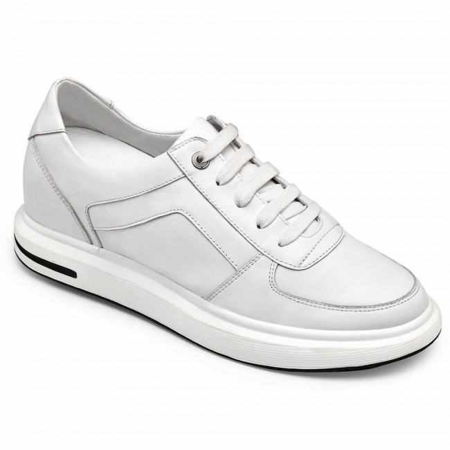 CHAMARIPA elevator sneakers for men high heel shoes men white leather 7CM / 2.76 Inches